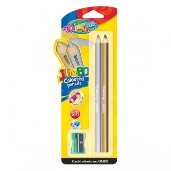 Круглые карандаши Jumbo, золотой и серебряный в блистере с точилкой CL51675PTR