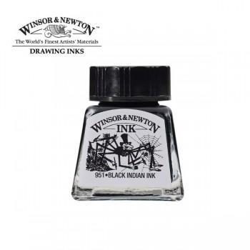 """Тушь для рисования Winsor&Newton, 14мл, """"Паук"""" 030 Черный индийский WN1005030"""