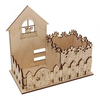 Деревянная заготовка подставка под карандаши 'Кошкин двор' 16,5*9*15 см 900843