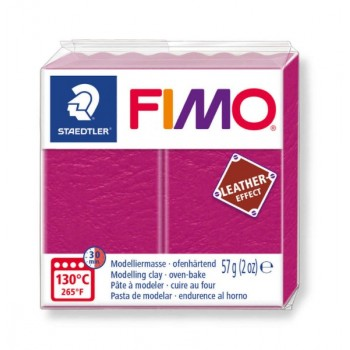 Пластика - полимерная глина FIMO Leather Effect малиновый  8010-229