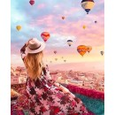 """Картина по номерам на холсте, """"Девушка и воздушные шары"""" SQ5258 30*40"""