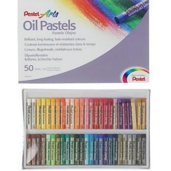 Пастель масляная 50 цветов Pentel 8/60мм, в картоне 1416820