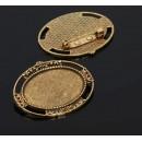 Основа для броши (набор 2шт), площадка 25*35мм, 1507988, цвет черненое золото