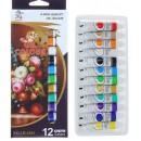 Краски масляные, 12 цветов, в пластиковой тубе, 12 мл 1211871