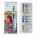 Краски масляные, 12 цветов, в пластиковой тубе, 9 мл, в картонной коробке 1505425