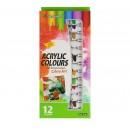 Краски акриловые, 12 цветов, в пластиковых тубах, 12 мл, в картонной коробке 3841107