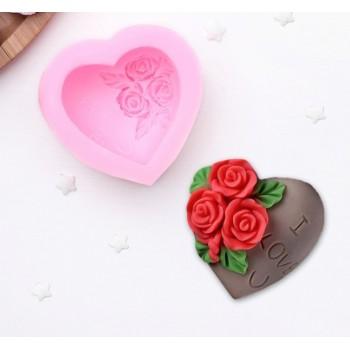 """Молд силиконовый 7×4 см """"Роза в сердце"""" 164544"""