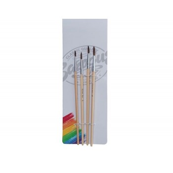 Набор кистей, «Пони», круглые, 4 штуки: № 1, 2, 3, 4, с деревянными ручками, 169386