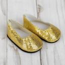 """Туфли для куклы """"Блёстки - кругляши"""", длина стопы: 7 см, цвет золото 4258946"""
