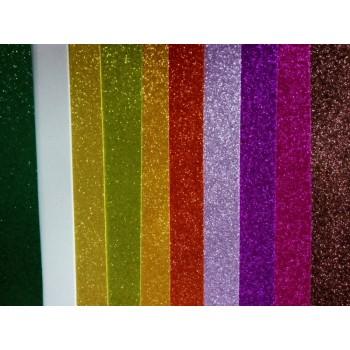 Фоамиран глиттерный набор-микс (10шт), 20x30 см.,толщина 2 мм (Н036)