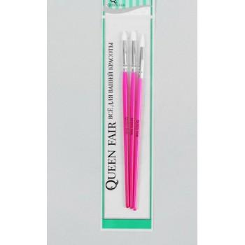 Набор силиконовых кистей, 3 шт, 18 см, цвет розовый