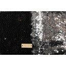 Ткань для пэчворка, пайетки двухсторонние, чёрный-серебро, 33*33см891588
