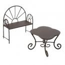 Металлические мини столик-ромашка и кресло, коричневые. 485870