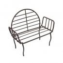 Металлическая мини скамейка с круглой спинкой, коричневая, 3*5,5*8 см, 7713846