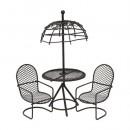 Набор метал. стол с зонтиком с 2-мя стульями,корич. 7717645