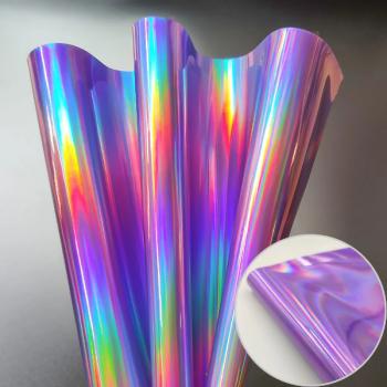 Кожа искусственная 20*30см 1 лист  голографический фиолетовый