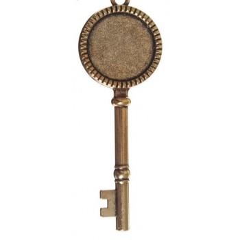 "Основа для подвески ""Ключ"" (набор 4шт), площадка 20 мм, цвет черненое золото (1507940)"