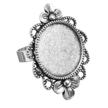 Основа для кольца, площадка 20 мм, регулируемый размер, набор 2 шт, цвет черненое серебро (1507905)