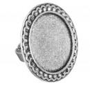 Основа для кольца, площадка 25 мм, регулируемый размер, набор 2 шт, цвет черненое серебро (1507889)