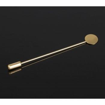 Основа для булавки (набор 5шт), площадка 1,5см, длина 7,5см, цвет золото