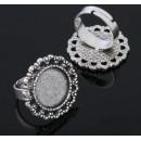 Основа для кольца (набор 2шт), регул-й раз-р,площадка 16мм, J002, цвет черненое серебро1507865