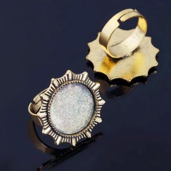 Основа для кольца регул-й раз-р,площадка 18мм, J048, цвет черненое золото 1507912