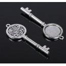 "Основа для подвески ""Ключ"" (набор 4шт), площадка 20 мм, цвет серебро черненое  (1507941)"