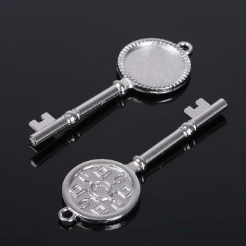 "Основа для подвески ""Ключ"" (набор 4шт), площадка 20 мм, цвет серебро  (1507943)"