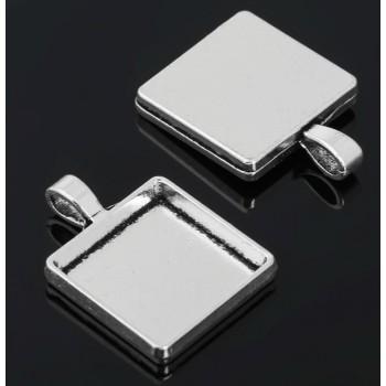 Рамка с сеттингом (набор 4шт) площадка 20*20мм, JC-702, цвет черненое серебро 1508595