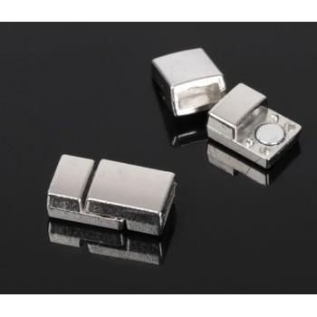 Замок магнитный для браслета 5339, 2329597 (набор 2шт), цвет серебро